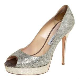 Jimmy Choo Metallic Glitter Fabric Dahlia Platform Peep Toe Pumps Size 40