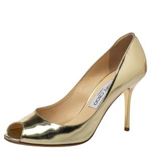Jimmy Choo Gold Leather Evelyn Peep Toe Pumps Size 38