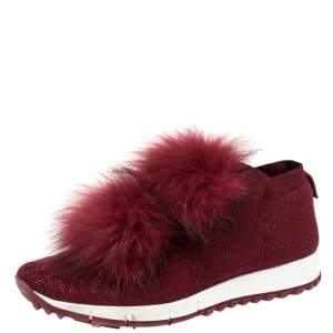 Jimmy Choo Burgundy Knit Fabric And Fur Pom Pom Norway Sneakers Size 38