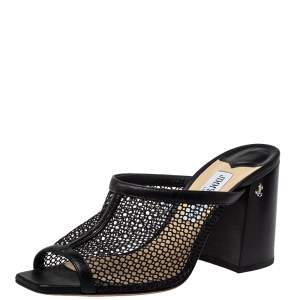 Jimmy Choo Black Leather And Mesh Joud Sandals Size 39.5