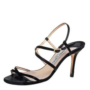 Jimmy Choo Black Satin Strappy Sandals Size 36