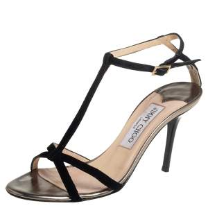 Jimmy Cho Black Suede T-Strap Sandals Size 36
