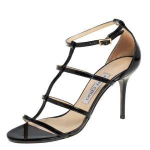 Jimmy Choo Black Patent Leather Dory Caged Sandals Size 36