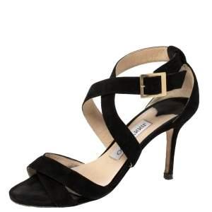 Jimmy Choo Black Suede Louise Crisscross Sandals Size 36
