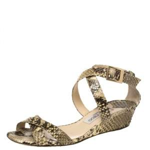 Jimmy Choo Two Tone Python Embossed Leather Connor Wedge Sandals Size 38