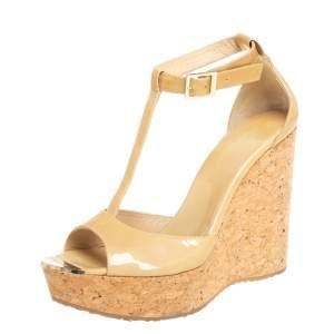 Jimmy Choo Beige Patent Leather Pela Cork Wedge T-Strap Sandals Size 40