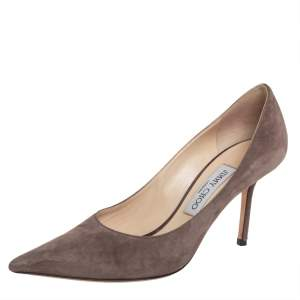 Jimmy Choo Beige Suede Romy Slip On Pumps Size 37.5