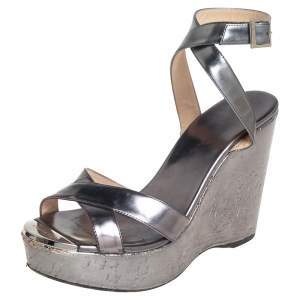 Jimmy Choo Metallic Silver Leather Crisscross Wedges Size 36.5