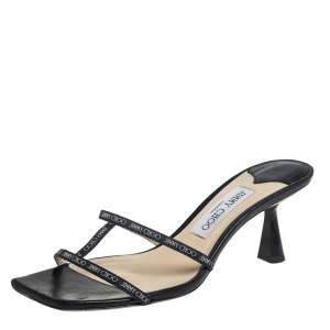 Jimmy Choo Black Canvas And Leather Ria Slide Sandals Size 38