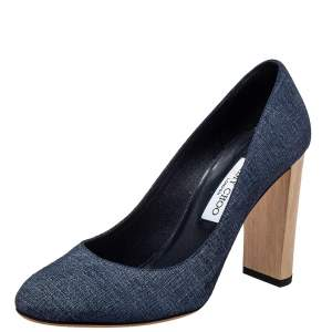 حذاء كعب عالي جيمي تشو لاريا دنيم أزرق مقاس 40