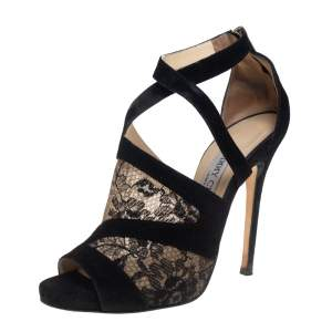 Jimmy Choo Black Suede and Lace Virion Inset Glove Sandals Size 38.5