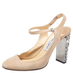 Jimmy Choo Beige Suede Crystal Embellished Heel Meagon Slingback Sandals Size 39