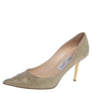Jimmy Choo Metallic Gold Glitter Fabric Agnes Pointed Toe Pumps Size 37