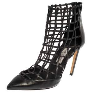 Jimmy Choo Black Leather Sheldon Caged Booties Size 39