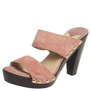 Jimmy Choo Pink Suede Wooden Clog Slide Sandals Size 40