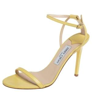 Jimmy Choo Yellow Leather Minny Sandals Size 39.5