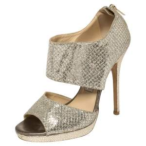 Jimmy Choo Metallic Glitter  Ankle Strap Sandals Size 37