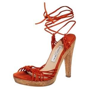 Jimmy Choo Orange Suede Ankle Wrap Platform Sandals Size 38