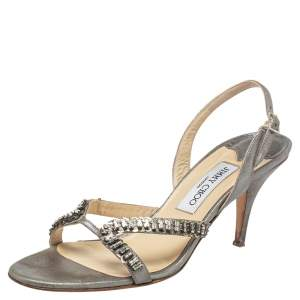 Jimmy Choo Silver Leather Crystal Embellished Slingback Sandals Size 40