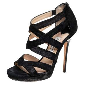 Jimmy Choo Black Suede Strappy Sandals Size 34