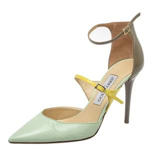 Jimmy Choo Multicolor Leather And Patent Leather Ankle Strap Sandals Size 37.5