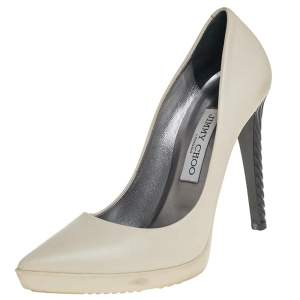 Jimmy Choo White Leather Pointed Toe Platform Pumps Size 37