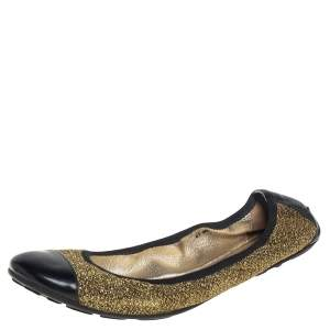 Jimmy Choo Metallic Gold Lamè and Black Patent Leather Winnie Cap Toe Scrunch Ballet Flats Size 41