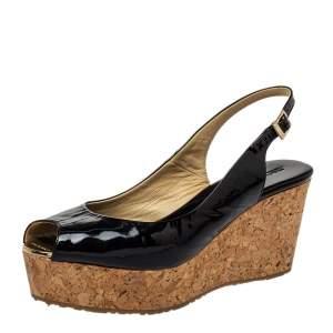 Jimmy Choo Black Patent Leather Prova Cork Wedge Peep Toe Platform Slingback Sandals Size 40