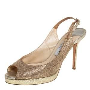 Jimmy Choo Gold Glitter Accents Peep Toe Slingback Pump Size 38