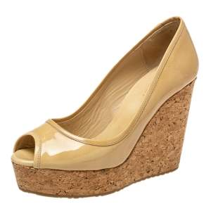 Jimmy Choo Beige Patent Leather Papina Wedge Pumps Size 38