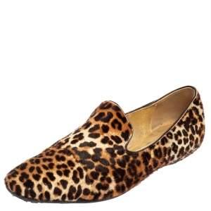 Jimmy Choo Brown Leopard Pony Hair Wheel Smoking Slippers Size 37
