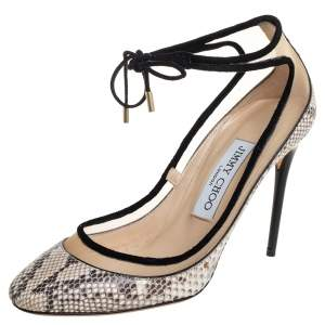 Jimmy Choo Beige Python and Suede Trim Tyler Ankle Tie Pumps Size 36