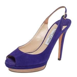 Jimmy Choo Blue Suede Peep Toe Slingback Sandals Size 38