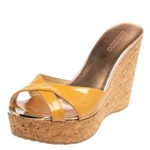 Jimmy Choo Beige Patent Leather Perfume Cork Wedge Slide Sandals Size 39