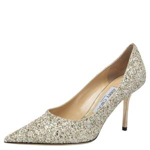 Jimmy Choo Gold Glitter Romy Pointed Toe Pumps Size 36.5