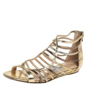 Jimmy Choo Metallic Gold/Silver Leather Gladiator Flat Sandals Size 38.5