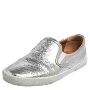 Jimmy Choo Silver Leather Slip on Sneakers Size 37