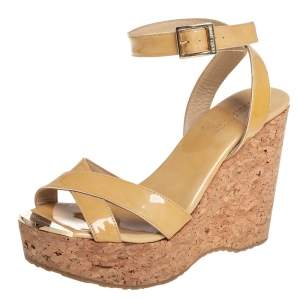 Jimmy Choo Beige Patent Leather Lucia Cross Strap Wedge Platform Sandals Size 37