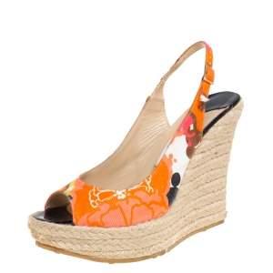 Jimmy Choo Multicolor Canvas Espadrille Wedge Slingback Sandals Size 38
