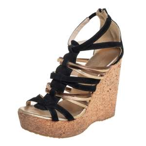 Jimmy Choo Black/Gold Suede And Leather Cage Cork Wedge Sandals Size 39