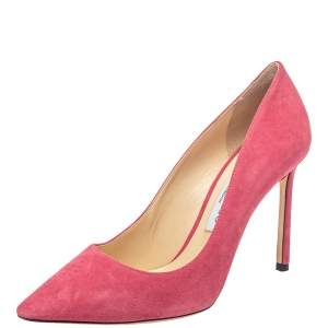 Jimmy Choo Pink Suede Romy Pointed Toe Pumps Size 38