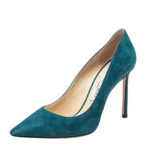 Jimmy Choo Blue Suede Romy Pointed Toe Pumps Size 38