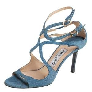 Jimmy Choo Blue Denim Lance Ankle Strap Sandals Size 36.5