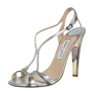 Jimmy Choo Metallic Silver Leather Ankle Strap Sandals Size 40