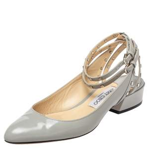 Jimmy Choo Grey Leather Ankle Strap Sandals Size 37.5