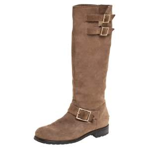 Jimmy Choo Brown Suede Biker Buckle Detail Mid Calf Boots Size 39.5