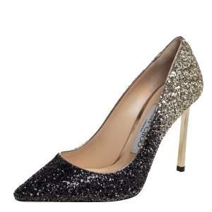 Jimmy Choo Two Tone Coarse Glitter Romy Pointed Toe Pumps Size 35
