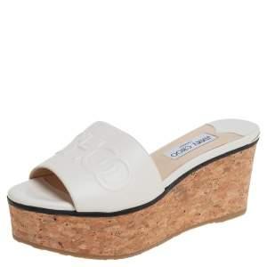 Jimmy Choo White Leather Deedee Cork Wedge Slide Sandals Size 38.5