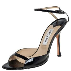 Jimmy Choo Black Patent Leather Ankle Strap Sandals Size 40