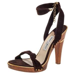 Jimmy Choo Brown Suede Ankle Wrap Sandals Size 40
